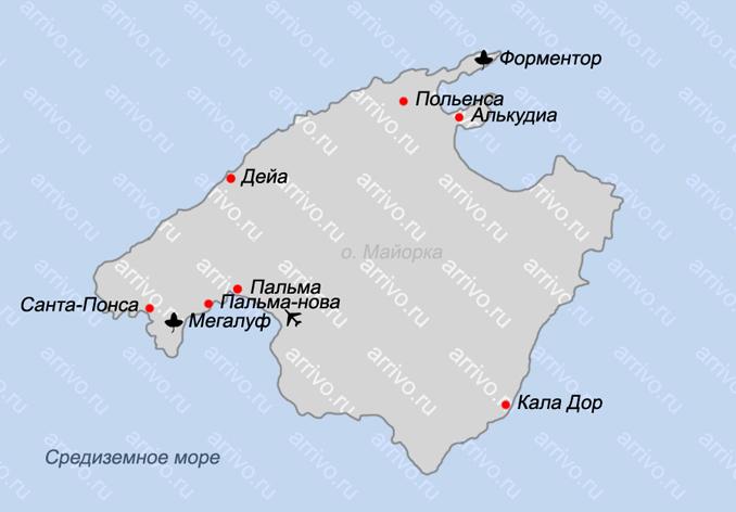 Пальма де Майорка карта на русском языке