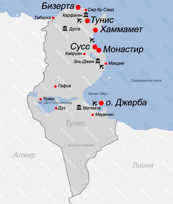 Карта Туниса с городами и курортами