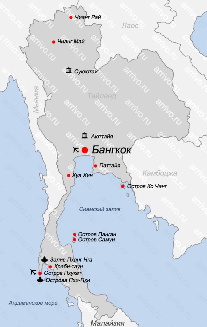 Карта Тайланда на русском языке с островами