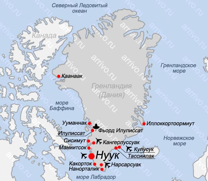 Карта Гренландии с городами