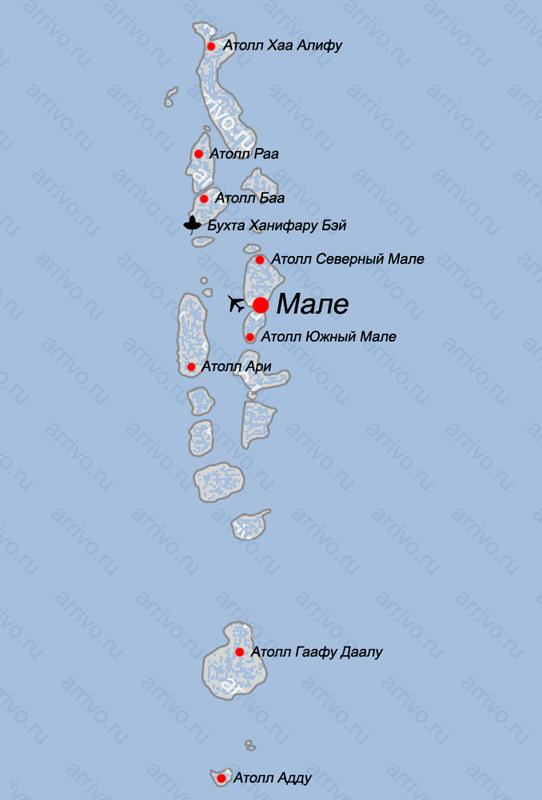 Атоллы Мальдив на карте