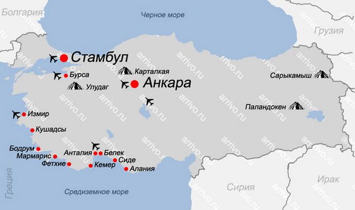 Карта Турции с курортами