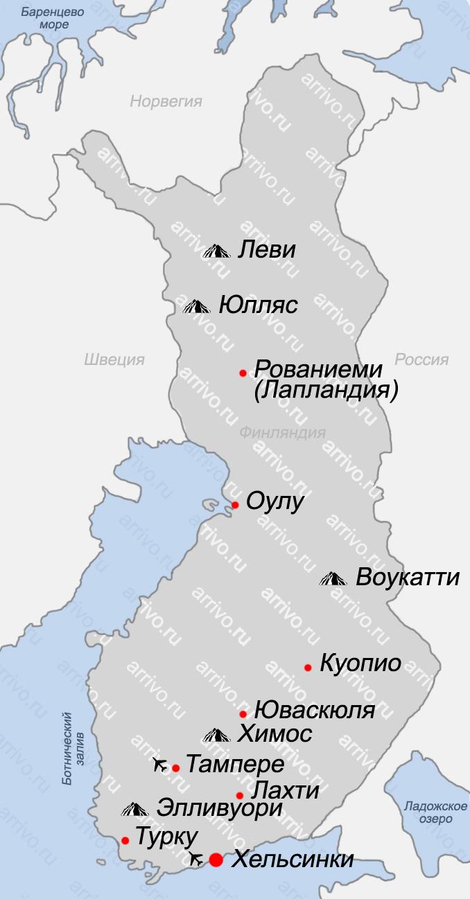 Карта Финляндии на русском языке с городами