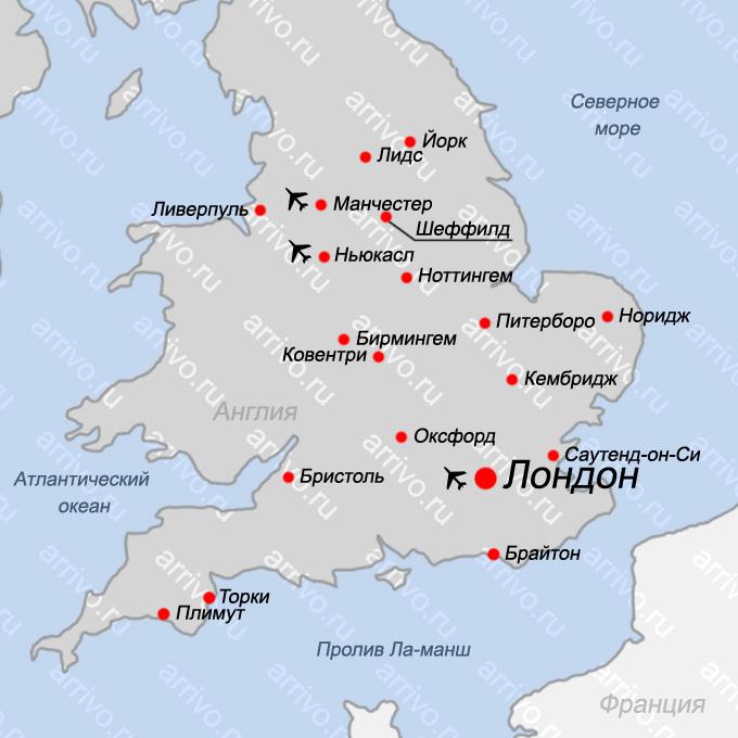 Карта Англии на русском языке