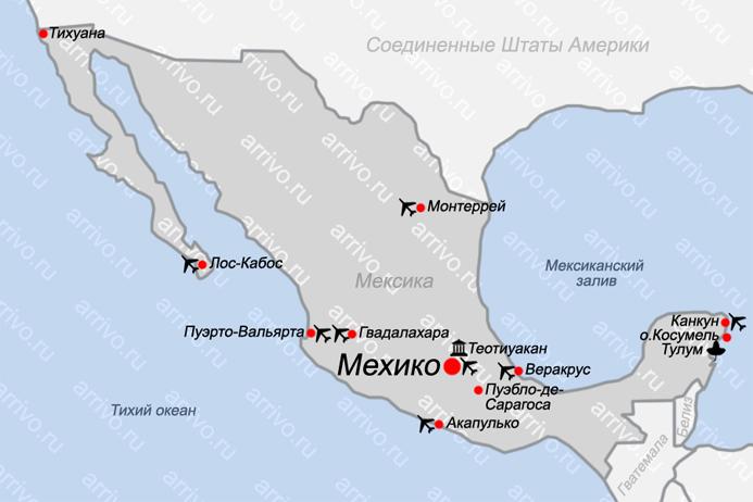 Карта Мексики с курортами