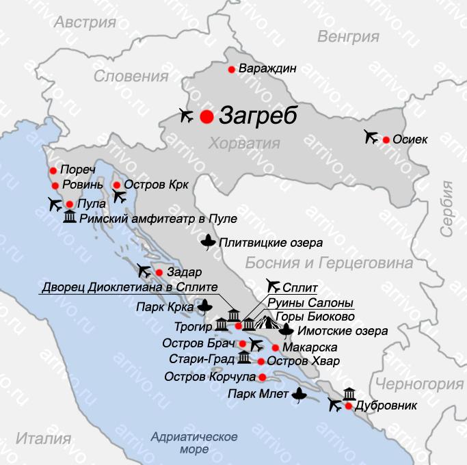 Карта Хорватии на русском языке