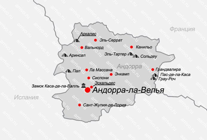 Карта Андорры на русском языке