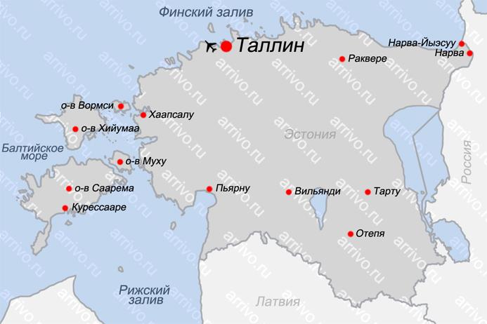 Карта Эстонии с городами