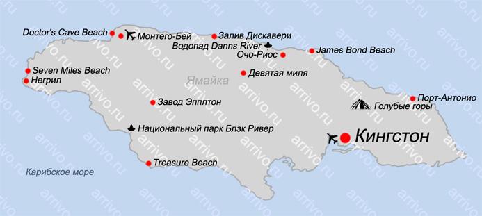Карта острова Ямайка