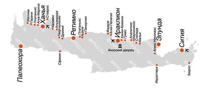 Крит карта острова на русском языке с курортами