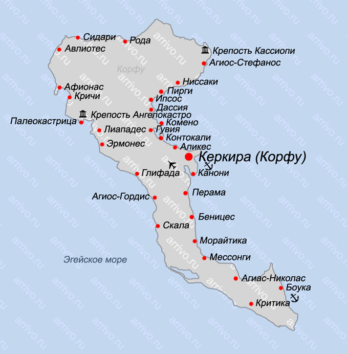 Корфу Греция карта