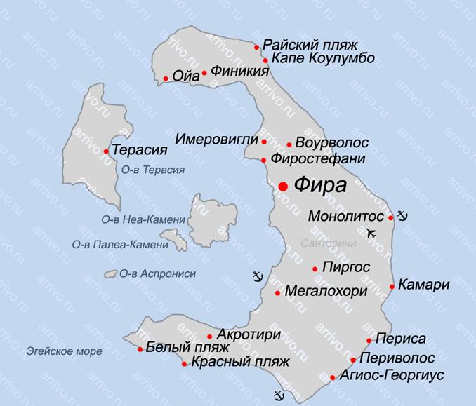 Карта острова Санторини