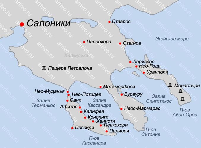 Карта Халкидики на русском языке