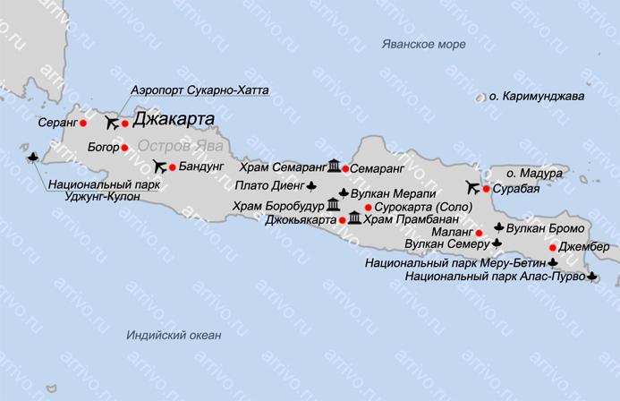 Карта острова Ява