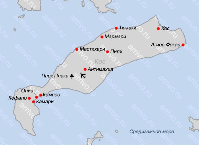 Карта Коса на русском языке